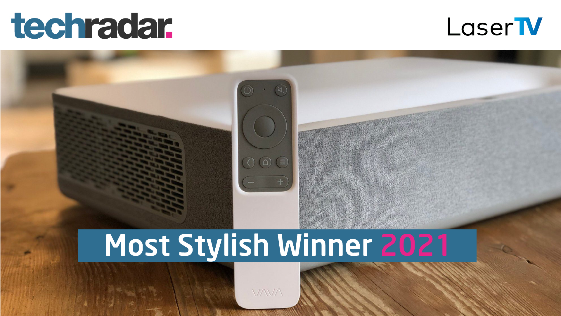 Close Up image of VAVA Short Throw Projector with techradar logo and LaserTV logo